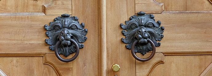 Two brass knockers in wooden door