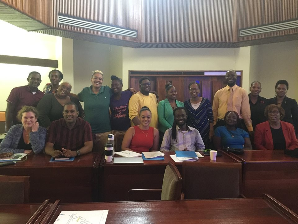 CBA's Policy Advocacy Specialist, Sarah MacKenzie (front left), worked with representatives of civil society organizations in Jamaica on a workshop to discuss barriers that persons living with disabilities have in accessing justice.